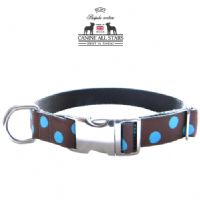 DOG COLLAR - BLUE DOTS ON CHOCOLATE BROWN